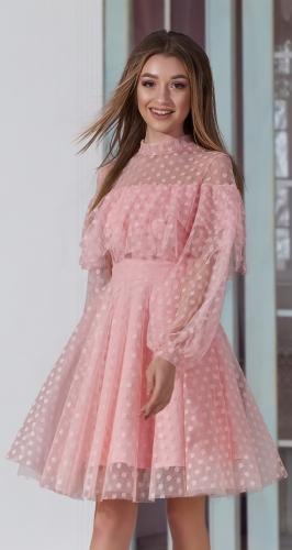 Зефирное платье № 3892 пудровое