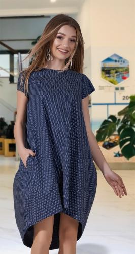 Катоновое платье № 31823 , синее
