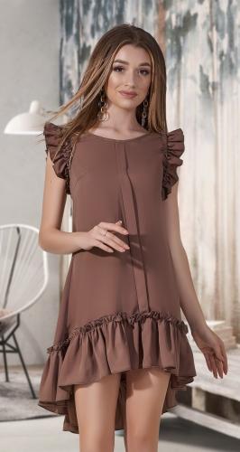 Асимметричное платье без рукавов, с оборками № 1315