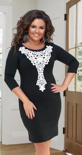 Нарядное чёрно-белое платье № 319921