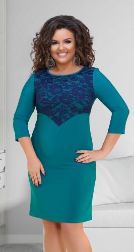 Двухцветное нарядное платье с гипюром № 32651,изумрудно-синее