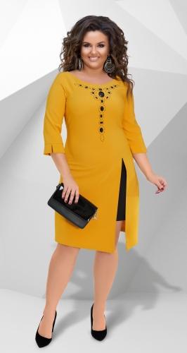 Восхитительное платье № 14961,горчица