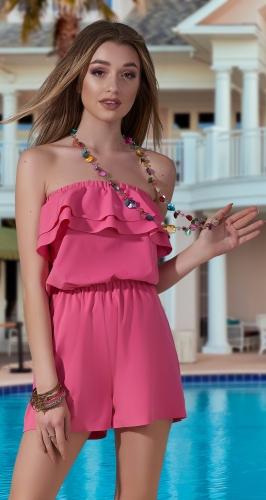 Модный комбинезон с шортами № 4002N,розовый