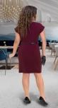 Красивое  платье с V-образным вырезом № 36591,бордовое