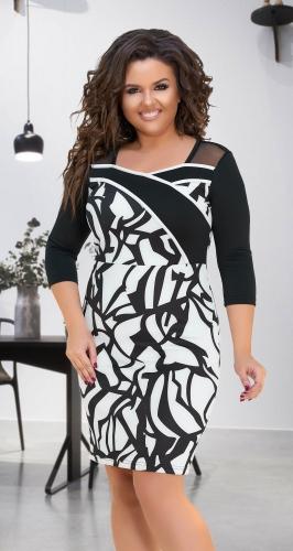 Эффектное чёрно-белое платье № 32001