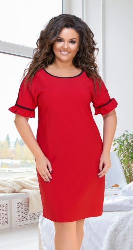 Эффектное кокетливое платье № 17911,красное