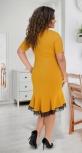 Платье с воланом в низу № 17811,горчичное