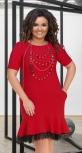 Платье с воланом в низу № 17811,красное