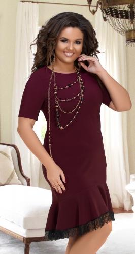 Платье с воланом в низу № 17811,бордовое