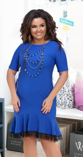 Платье с воланом в низу № 17811,ярко синее