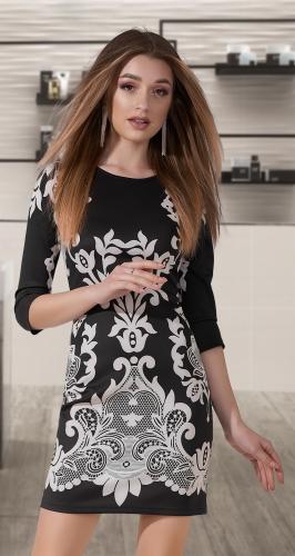 Короткое принтованое платье № 1469