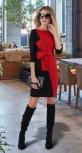 Трикотажное платье № 3191 , чёрно-красное