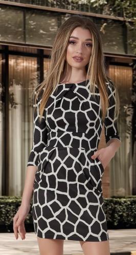 Приталенное платье с карманами в хищной расцветке № 1166