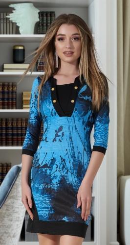 Короткое платье со стильным принтом № 1192