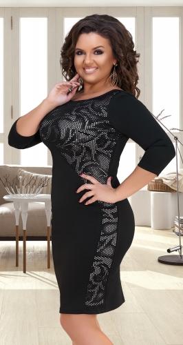 Облегающее черное платье с узором № 34291