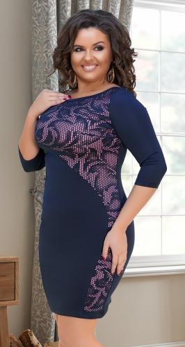 Облегающее синее платье с узором № 34291
