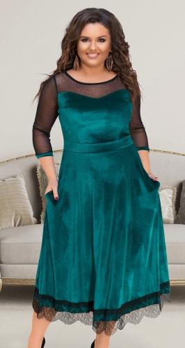 Нарядное длинное платье № 17331,тёмно бирюзовое