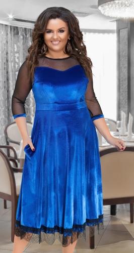 Нарядное длинное платье № 17331,ярко синее