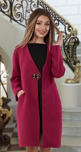 Кашемировое пальто № 4013 ,фуксия