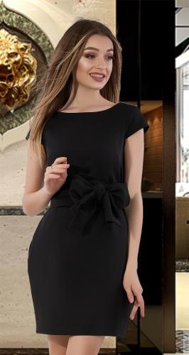 Лаконичное платье с поясом № 4015 , чёрное
