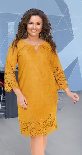 Красивое платье свободного кроя № 32141,горчичное