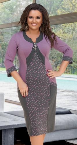 Красивое платье  № 596,серо-розовое