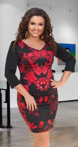 Нарядное узкое платье № 16811,чёрное с принтом