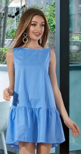 Свободное платье с оборкой № 3138,голубое