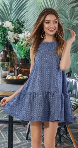 Свободное платье с оборкой № 3138,синее