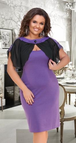 Красивое лавандовое платье с шифоном № 3521