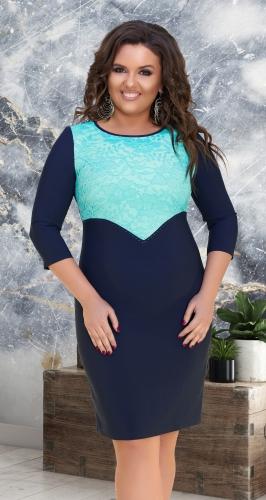 Двухцветное нарядное платье с гипюром № 32651,мятно-синее