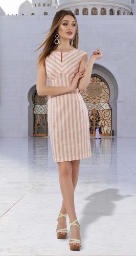 Катоновое платье в полоску № 3954