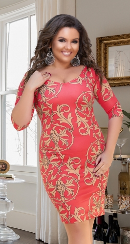 Яркое коралловое платье № 8253