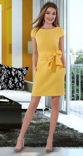 Лаконичное платье с поясом № 4015 ,желтое