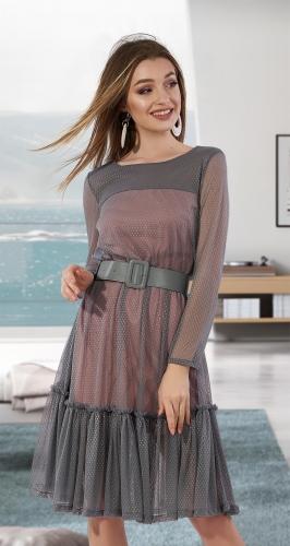 Стильное платье с сеточкой