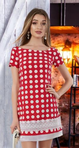 Лёгкое платье с кружевом № 3134 ,красное