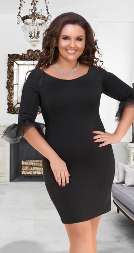 Эффектное чёрное платье № 16661