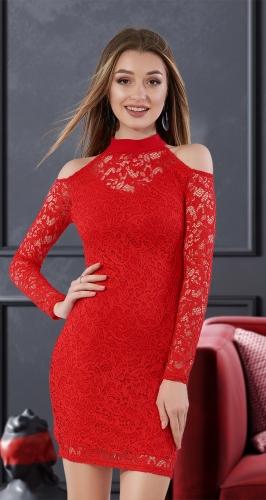 Короткое гипюровое платье с открытыми плечиками № 3635,красное