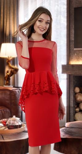 Красивое платье с баской № 3472 ,красное