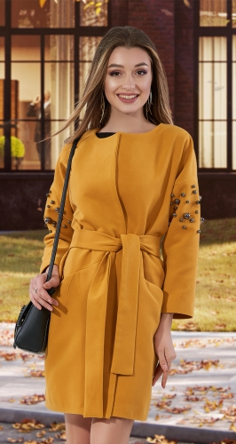 Кашемировое пальто с жемчугом № 35453 , горчичное