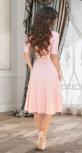 """Красивое платье """"миди"""" с расклешённой юбкой и ремешком № 3928,пудровое"""