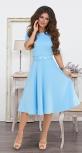 """Красивое платье """"миди"""" с расклешённой юбкой и ремешком № 3928,голубое"""