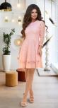 Расклешённое платье из сеточки с вышивкой № 3912,пудровое