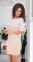 Лёгкое летнее платье в горошек № 36103,пудровое
