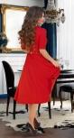 """Красивое платье """"миди"""" с расклешённой юбкой и ремешком № 3928,красное"""