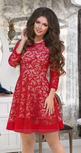 Расклешённое платье из сеточки с вышивкой № 3912,красное
