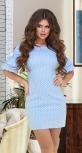 Лёгкое летнее платье в горошек № 36103,голубое