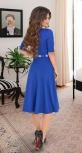 """Красивое платье """"миди"""" с расклешённой юбкой и ремешком № 3928,ярко синее"""