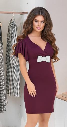 Нарядное мерцающее платье № 3925,марсала