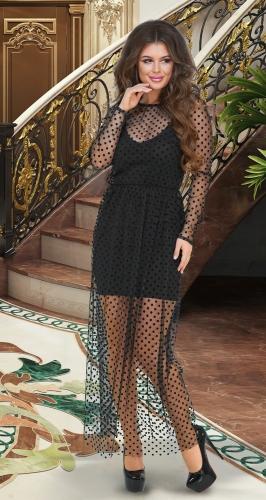Длинное чёрное платье-двойка № 3949